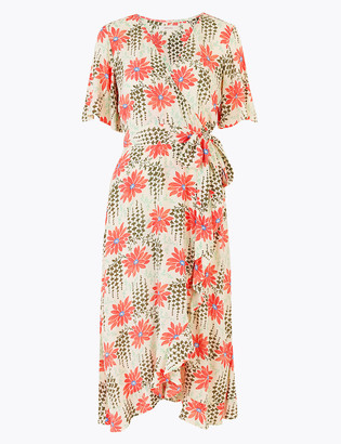 Marks and Spencer Floral Print Midi Wrap Dress
