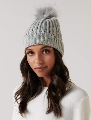 Forever New Molly Cable Knit Fur Pom Beanie - Grey - 00
