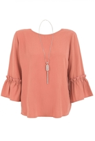 Quiz Curve Terracotta Frill Sleeve Necklace Top