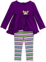 Kids Headquarters Purple Butterfly Tunic & Stripe Leggings - Toddler