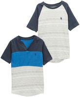 English Laundry Blue Color Block V-Neck Tee & Navy Raglan Tee - Toddler & Boys