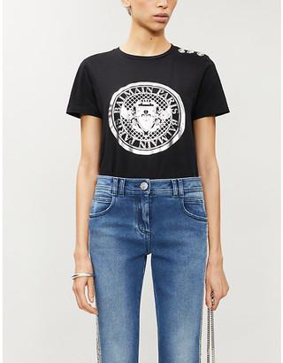 Balmain Logo-print cotton-jersey T-shirt, Size: M