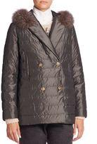 Brunello Cucinelli Fur-Trim Hooded Silk Taffeta Puffer Jacket
