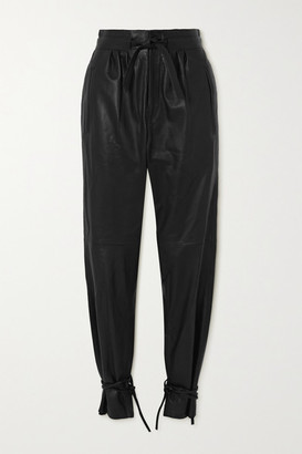 Isabel Marant Duardo Tie-detailed Leather Tapered Pants - Black