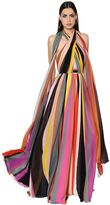 Elie Saab Striped Crepe Georgette Gown