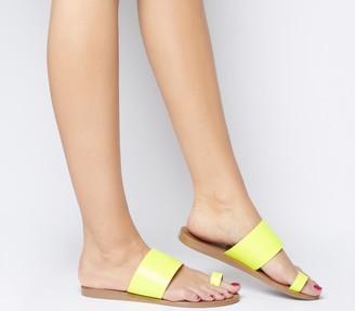 Office Scuba Toe Loop Sandals Neon Yellow Leather