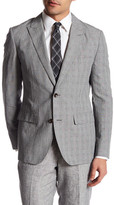 Bonobos Foundation Grey Glenplaid Two Button Peak Lapel Slim Fit Jacket