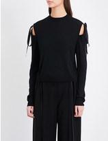Adeam Tie-detail cold shoulder knitted jumper