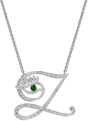 Tabayer Eye 18K White Gold, Emerald & Diamond Zen Pendant Necklace