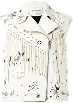 Valentino fringed sleeveless biker jacket