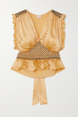 Loretta Caponi Valeria Cropped Bow-detailed Ruffled Smocked Silk-satin Top - Gold