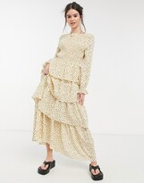 Thumbnail for your product : Lost Ink long sleeve maxi dress with tiered skirt and shirred bodice