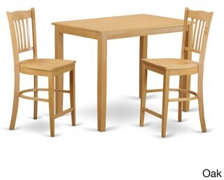 East West Furniture Cream/Natural Finish Solid Wood 3-piece Counter Height Pub Set - N/A