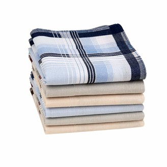 """Houlife Classic 100% 60S Cotton Mens Stripe Checkered Pattern Handkerchiefs Assorted Soft Plaid Hankies for Casual Father's Day Gift 6/12 Pieces 16x16""""/40x40cm"""