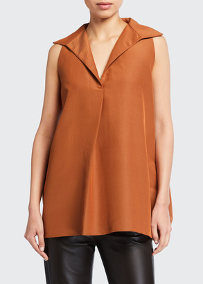 Co Collared High-Low Sleeveless Top