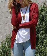 42POPS Women's Cardigans DkRust - Dark Rust Button-Sleeve Cardigan - Women