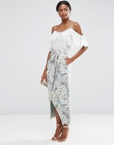 Asos Premium Jacquard Maxi Skirt with Wrap Detail