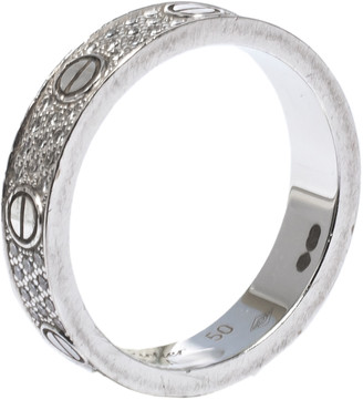 Cartier Love Diamond Paved 18k White Gold Wedding Band Ring Size 50