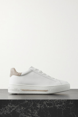 Rene Caovilla Crystal-embellished Leather Sneakers