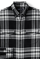 Lands' End Men's Traditional Fit Double Pocket Flannel Shirt with Elbow Patches-Mica Heather
