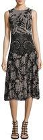 Fuzzi Sleeveless Floral Lace-Print Dress, Black Multi