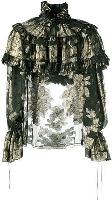 Saint Laurent Ruffled Floral-Print Blouse