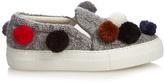 Joshua Sanders Pompom-embellished knitted slip-on trainers