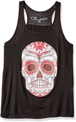 Clementine Apparel Women's Petite Plus Clementine Ladies' with Floral Skull Printed Flowy Racerback Tank
