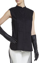 BCBGMAXAZRIA Long-Knit Inset Leather Gloves