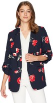 NINE WEST Womens Size Plus Coral Printed Crepe JKT with 3//4 Folded Button Sleeve