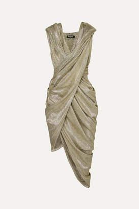 Balmain Hooded Draped Metallic-knit Dress - FR38