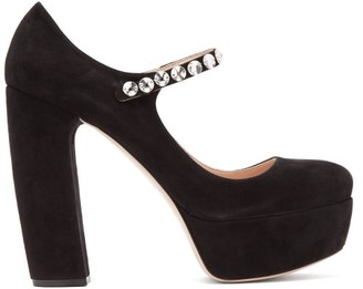 Miu Miu Suede Embellished Platform Mary Jane Pumps - Womens - Black