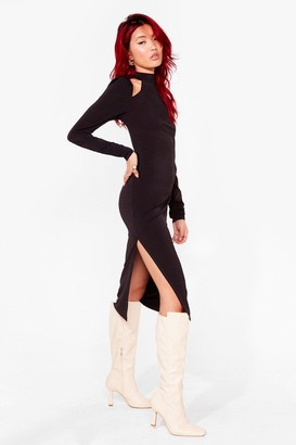 Nasty Gal Womens Cut-Out With the Old Racer Midi Dress - Black