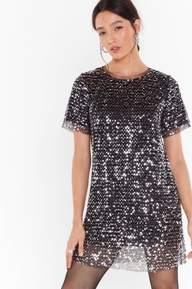 Nasty Gal Womens You Can't Sequin Them All Tee Dress - Grey - S