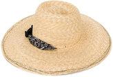 Lola Hats - bandana detail hat - women - Straw - One Size