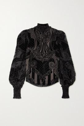 Balmain Shirred Devore-velvet Blouse - Black