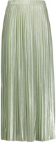 ADAM by Adam Lippes Pleated metallic silk-blend maxi skirt