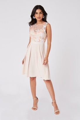 Little Mistress Bridesmaid Cindy Nude Floral-Embroidered Skater Dress