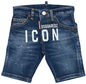 DSQUARED2 Stretch Cotton Blend Denim Shorts