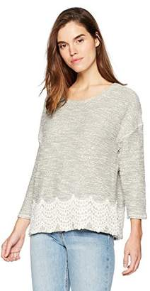 Three Dots Women's Boucle w/lace 3/4 SLV mid Shirt