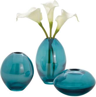 Torre & Tagus Mini Lustre Turquoise Vases, Assorted Set Of Three