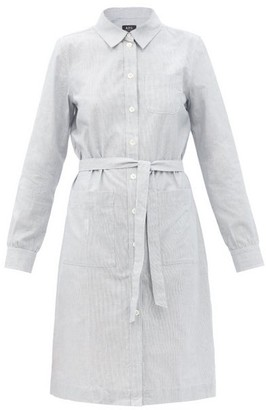 A.P.C. Emmanuelle Striped Cotton-poplin Shirt Dress - White Multi