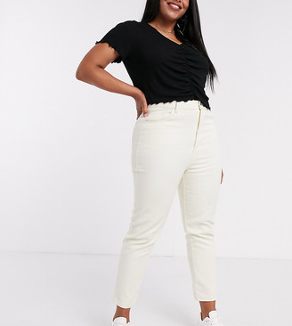 Daisy Street Plus high waist mom jeans in stone