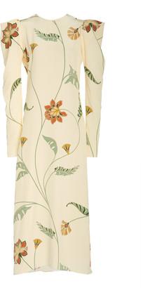 Johanna Ortiz Splashing Flowers Printed Silk Dress