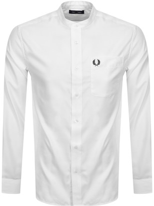 Fred Perry Long Sleeved Grandad Collar Shirt White