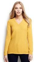 Classic Women's Cotton V-neck Chevron Tunic Sweater-Bold Coral