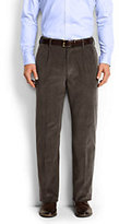 Classic Men's Traditional Fit Pleat Front 18-wale Corduroy Trousers-Slate Heather