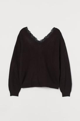 H&M H&M+ Lace-trimmed Sweater - Black