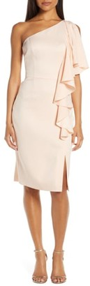 Vince Camuto Satin Ruffle One Shoulder Dress