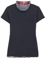 Sacai Linen-blend Jersey And Pleated Printed Chiffon T-shirt - Navy